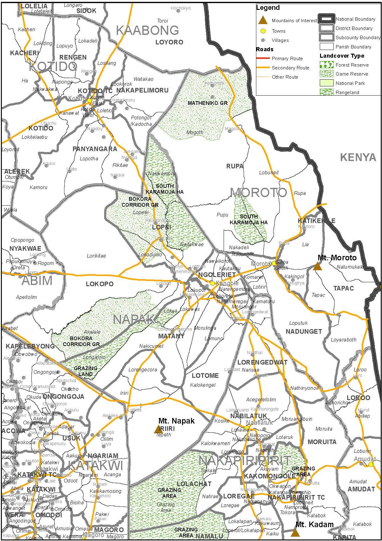 Map showing Moroto and Napak in Karamoja region